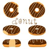 Vector illustration for glazed sweet donut. Abstract vector icon illustration logo for glazed sweet donut. Donut pattern consisting of heap of different colored Royalty Free Stock Images