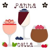 Vector illustration for sweet panna cotta. Abstract vector icon illustration logo for jelly berries panna cotta. Jelly pattern consisting of natural design sweet Royalty Free Stock Photos