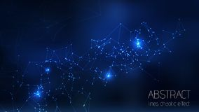 Abstract vector illuminated particles, sparks and lines. Plexus effect. Futuristic cyber constellation structure with Lens Flare. Light. Data Connection Concept vector illustration