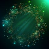 Abstract vector illuminated stars particles and lines. Plexus fu. Turistic vector illustration Stock Image