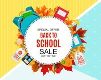 Abstract Vector Illustration Back to School Sale Background with Falling Autumn Leaves. EPS10 Royalty Free Stock Images