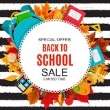 Abstract Vector Illustration Back to School Sale Background with Falling Autumn Leaves. EPS10 Stock Images