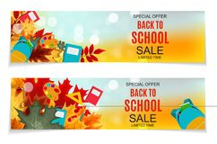 Abstract Vector Illustration Back to School Sale Background with Falling Autumn Leaves. EPS10 Royalty Free Stock Image