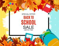 Abstract Vector Illustration Back to School Sale Background with Falling Autumn Leaves. EPS10 Royalty Free Stock Photo