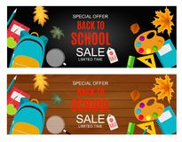 Abstract Vector Illustration Back to School Sale Background with Falling Autumn Leaves. EPS10 Royalty Free Stock Photos