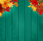 Abstract Vector Illustration Background with Falling Autumn Leaves. Stock Photography