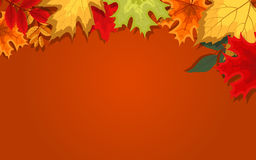 Abstract Vector Illustration Background with Falling Autumn Leaves. Stock Image