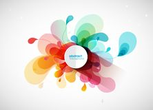 Abstract vector illustration with colorful half transparent flower petals. Also white circle for your own text. Vector art royalty free illustration