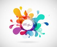 Abstract vector illustration with colorful half transparent flower petals. Also white circle for your own text. Vector art stock illustration