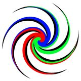 Abstract vector illustration of a colorful spiral. three colors stock illustration