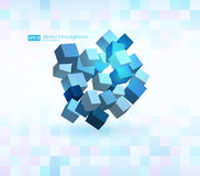 Abstract vector Illustration. Composition of 3d cubes. Background design for banner, poster, flyer, card, cover. Brochure Logo design royalty free illustration