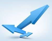 Abstract vector illustration, 3d arrows, logo. Abstract vector illustration, blue 3d arrows, logo design Stock Photos