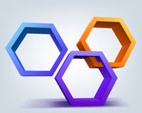 Abstract vector illustration, 3d hexagons Royalty Free Stock Image