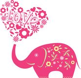 Abstract vector illustration with elephant Royalty Free Stock Photography