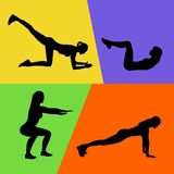 Abstract vector illustration of fitness exercises silhouettes, sign, banner stock image