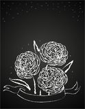 Chalk flowers on blackboard Royalty Free Stock Images