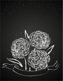 Chalk flowers on blackboard Royalty Free Stock Images