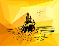 Castle on fire with ghost women. Abstract vector illustration of a haunted castle on fire on an island in an ocean with ghosts over polygonal background. Concept Royalty Free Stock Image