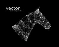 Abstract vector illustration of horse head. On black background Royalty Free Stock Photos