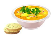 Ceramic bowl of soup with bread vector illustration