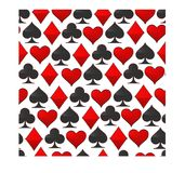 Abstract vector illustration logo for set playing cards in gamble poker. Poker pattern consisting of black spades ace, red heart, diamond card, clubs icon vector illustration