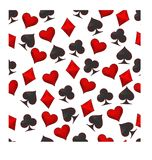 Abstract vector illustration logo for set playing cards in gamble poker. Poker pattern consisting of black spades ace, red heart, diamond card, clubs icon stock illustration