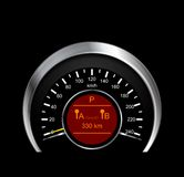 Abstract vector illustration of metal speedometer Stock Photography