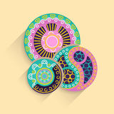 Abstract vector illustration of a modern style with three colored circles with different shapes inside. Abstract vector illustration of isolated colored circles Royalty Free Stock Image