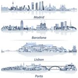 Abstract Vector Illustration Of Madrid, Barcelona, Lisbon And Porto City Skylines In Light Blue Color Palette With Water Reflectio Stock Image