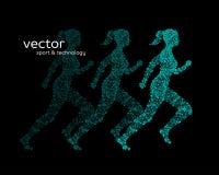 Abstract vector illustration of running woman. Abstract vector illustration of running woman on black background vector illustration