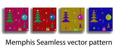 Cover template with figures of geometry memphis seamless in christmas style for brochures, posters, banners. Stock Photos
