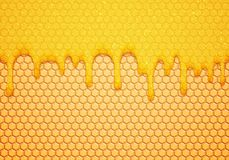 Abstract Vector Illustration with Sweet Flow Down Honey and Honeycombs. Delicious Food Background royalty free illustration