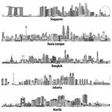 Abstract vector illustrations of asian citiesSingapore, Kuala Lumpur, Bangkok, Jakarta and Manila skylines in black and white co Royalty Free Stock Photos