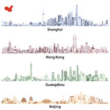 Abstract vector illustrations of Shanghai, Hong Kong, Guangzhou and Beijing skylines with China map. Abstract high detailed vector illustrations of Shanghai royalty free illustration