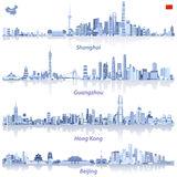 Abstract vector illustrations of Shanghai, Hong Kong, Guangzhou and Beijing skylines with map and flag of China. Abstract illustrations of Shanghai, Hong Kong stock illustration