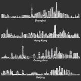 Abstract vector illustrations of Shanghai, Hong Kong, Guangzhou and Beijing skylines at night. Abstract illustrations of Shanghai, Hong Kong, Guangzhou and Royalty Free Stock Photo