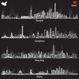 Abstract vector illustrations of Shanghai, Hong Kong, Guangzhou and Beijing skylines at night with flag and map of China Stock Photos
