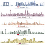 Abstract vector illustrations of Singapore, Kuala Lumpur, Bangkok, Jakarta and Manila skylines with maps and flags of the countri Royalty Free Stock Images