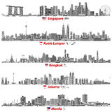 Abstract vector illustrations of Singapore, Kuala Lumpur, Bangkok, Jakarta and Manila skylines at night with flags and maps of th Royalty Free Stock Photography