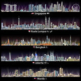 Abstract vector illustrations of Singapore, Kuala Lumpur, Bangkok, Jakarta and Manila skylines at night with maps and flags of the Stock Photography