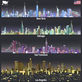 Abstract vector illustrations of United States city skylines in different colorful palettes Stock Photos
