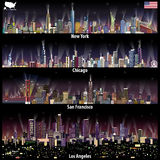 Abstract vector illustrations of United States city skylines New York, Chicago, San Francisco and Los Angeles at night with map Royalty Free Stock Images