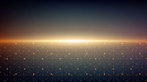Abstract vector infinity background. Glowing stars with illusion of depth and perspective. Ab. Stract futuristic space on dark background. Abstract sunrise Stock Photography