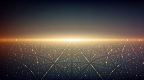 Abstract vector infinity background. Glowing stars with illusion of depth and perspective. A. Bstract futuristic space on dark background. Abstract sunrise Stock Photography