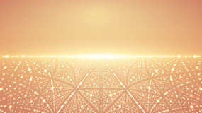 Abstract vector infinity background. Glowing stars with illusion of depth and perspective. Abstract futuristic space on orange background. Abstract sunrise Royalty Free Stock Photos