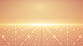 Abstract vector infinity background. Glowing stars with illusion of depth and perspective. Abstract futuristic space on orange background. Abstract sunrise Stock Photography