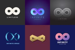 Abstract Vector Infinity Symbols Set. Modern Gradients and Typography, Soft Shadows. A Collection of Limitless Sign Logo. Templates on Dark Backgrounds Stock Photo