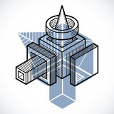 Abstract vector isometric dimensional shape made using geometric Royalty Free Stock Photography