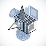 Abstract vector isometric dimensional shape made using geometric Royalty Free Stock Image