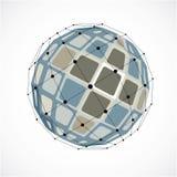 Abstract vector laag polyvoorwerp met zwarte lijnen en punten connec Royalty-vrije Stock Afbeelding